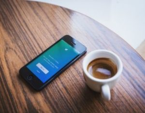 social media with coffee