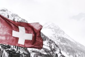 Swiss Flag on Mountain